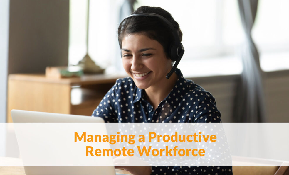 Shows a remote worker during covid
